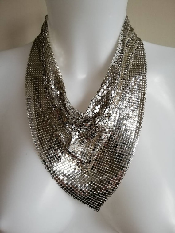 1970s Whiting and Davis Mesh Scarf Necklace