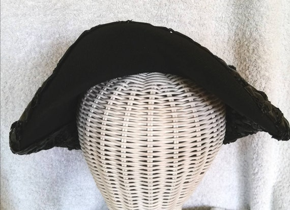 1950s Black Straw Hat