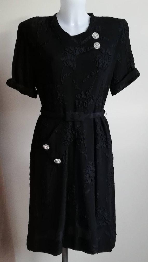 1940s Black Crepe Dress - image 1