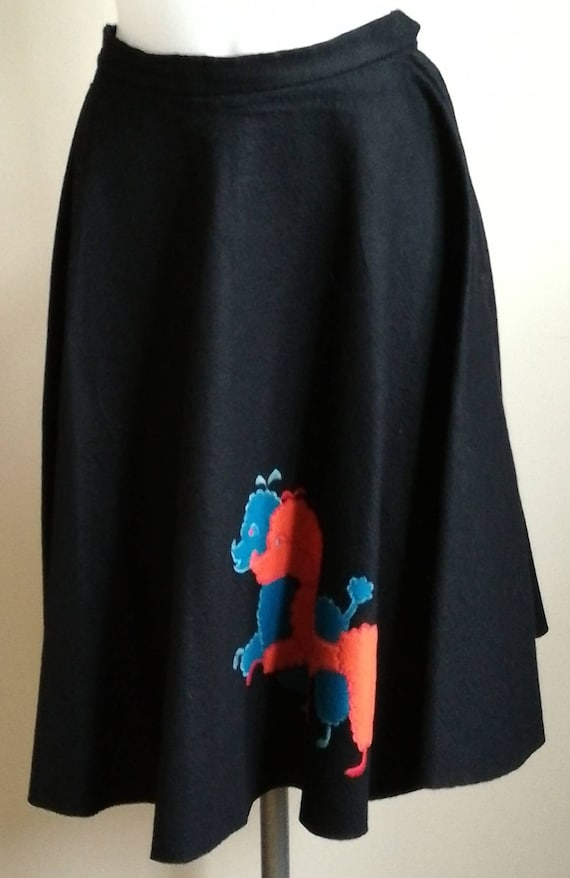 1950s Black Felt Poodle Skirt