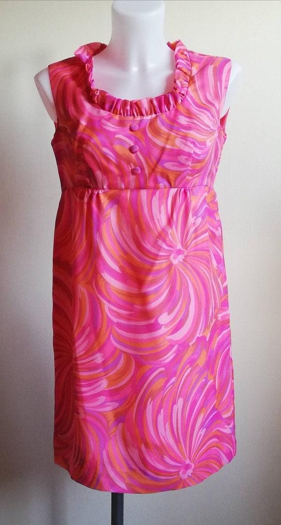1960s Pink Floral Mini Dress