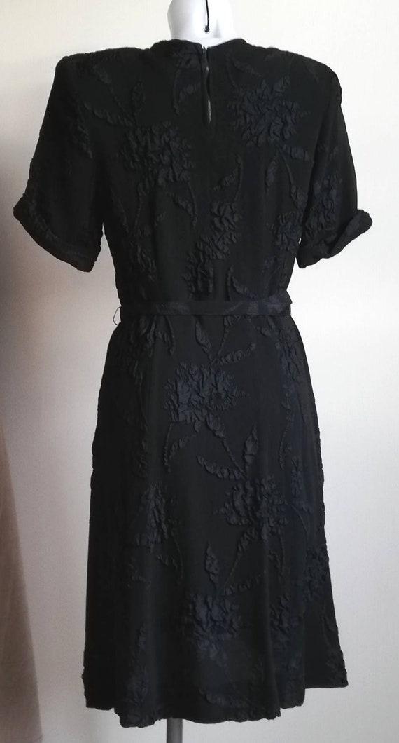 1940s Black Crepe Dress - image 4