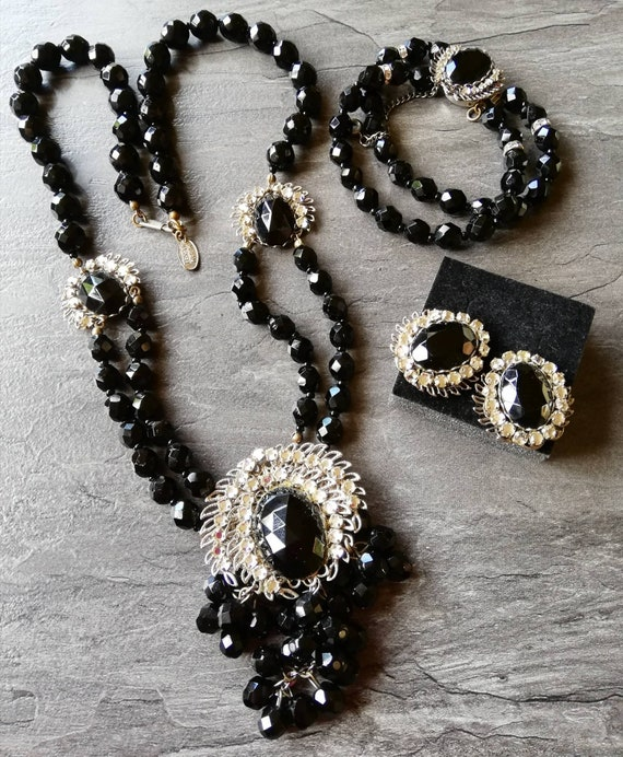 1950s Miriam Haskell Necklace, earrings and bracel