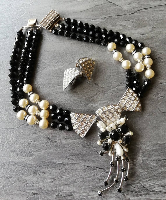 1950s Miriam Haskell Necklace and Earrings Set