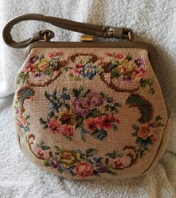 1950s Taupe Leather and Tapestry Bag