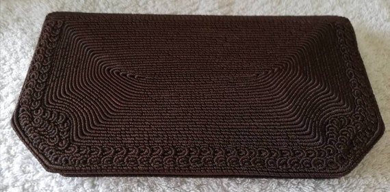 1940s Brown Corded Clutch bag