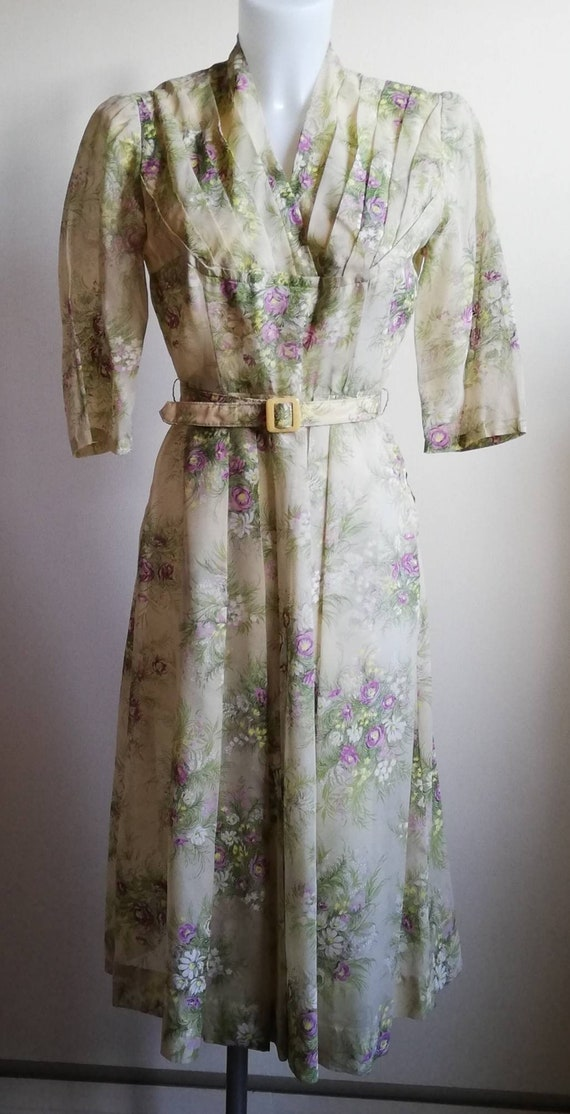 1950s Sheer Yellow Floral Dress