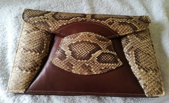 1940s Snakeskin And Leather Clutch