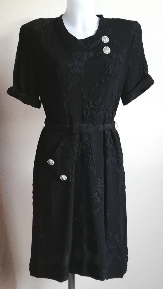 1940s Black Crepe Dress - image 3