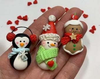 Christmas Clay Figurine Set of 3  Clay Embellishment - Flat Back Clay Figurine - Christmas - Holidays
