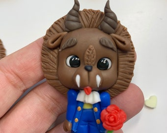Beast from Beauty and the Beast Inspired Clay Embellishment - Flat Back Clay Figurine -DIY Craft -Clay Center