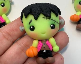 The Frankenstein Inspired Clay Embellishment - Flat Back Clay Figurine -DIY Craft - Halloween Clay -