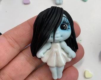 The Grudge Inspired Clay Embellishment - Flat Back Clay Figurine -DIY Craft - Halloween Clay -