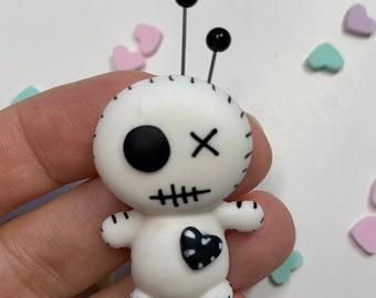 Voodoo Doll -Halloween Collection- - Flat Back Clay Figurine -DIY Craft - Halloween Clay