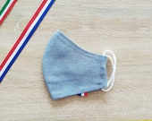2-layer ADO-sized cotton fabric face mask in style blue faded jeans Flag Choice
