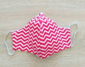 Face mask in cotton fabric 2 layers Size WOMAN Pattern zigzag red