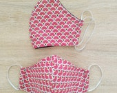 2-layer cotton fabric protective mask with elastic Size WOMAN red fan pattern