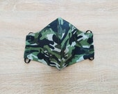 2-layer cotton fabric face mask with elastic size ADO pattern lattice camouflage