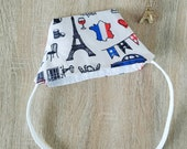 "Custom face mask in cotton fabrics with elastic ""i love FRANCE"""
