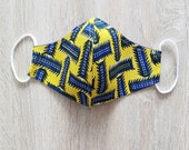 Face mask in wax and cotton fabric with elastic, SIZE MAN. yellow and blue