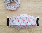 Face mask in folded cotton fabric, 2 layers, with elastic with its favorite. ADO size. Pink Flemish motif