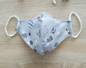 """Protective mask in cotton fabric, 2 co-faces, with elastic. Size """"aeronautical"""" motive"""