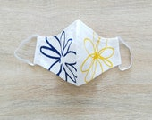 2-layer cotton fabric protective mask with elastic Size WOMAN blue flower and yellow white background