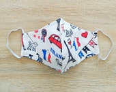 Face mask in cotton fabric 2 layers size WOMAN Parisian pattern