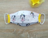 Protective mask in folded cotton fabric, 2 layers, with elastic. SIZE. Princess motif