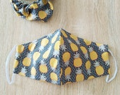 Cotton fabric mask, 2 layers, with elastic with matching darling. WOMAN size, pineapple pattern