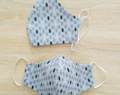 Face mask in cotton fabric,2 layers. MAN size. grey oval pattern