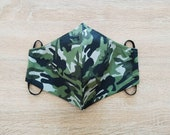 2-layer cotton fabric face mask with elastic size MAN pattern lattice camouflage