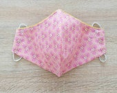 2-layer cotton fabric face mask with elastic Size WOMAN pattern purple pink alveoli