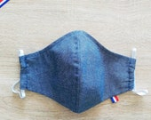2-layer cotton fabric face mask with elastic size ADO style blue jeans