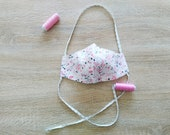 Reusable cotton fabric mask 2 layers pink flower pattern WOMAN