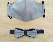 2-layer cotton fabric face mask with elastic and matching bow tie Size MAN Night blue and white striped colour