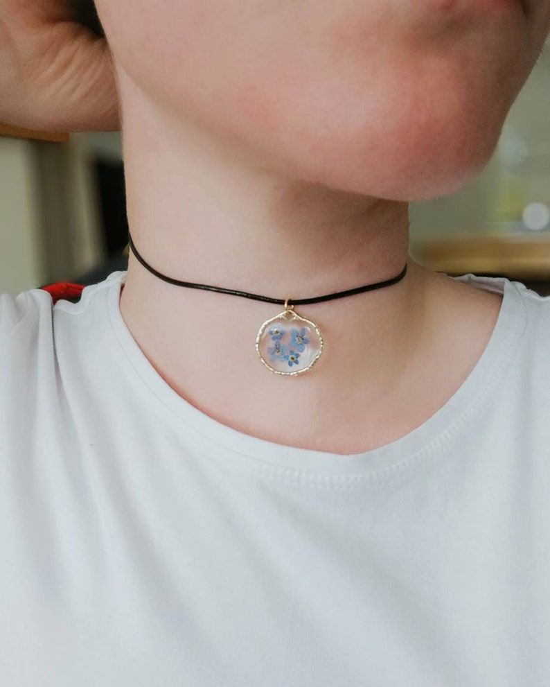 choker. Real flower pressed Forget me Not necklace