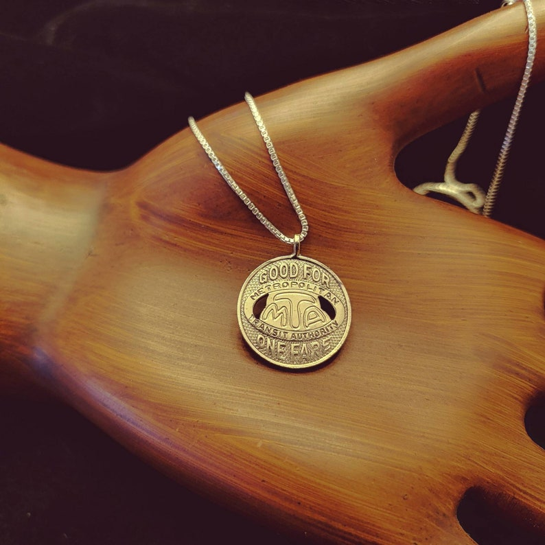 upcycle vintage coin jewelry Los Angeles M.T.A. token L.A on 20Sterling Silver box chain Coin Pendant California jewelry