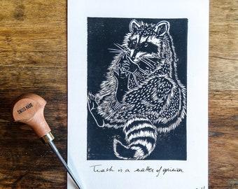 Raccoons Home Sweet Home Linocut Block Print