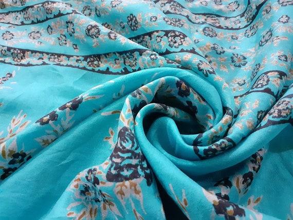 Vintage Indian Turquoise Pure Silk Saree Floral Printed Saree Deco Sari Craft Fabric Dressmaking,Crafting,Home Decor Silk Sari 5 Yard Fabric