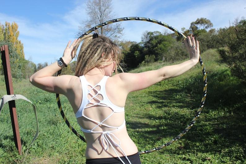 White Lace up Crop Top Festival Yoga Boho Tribal Doof