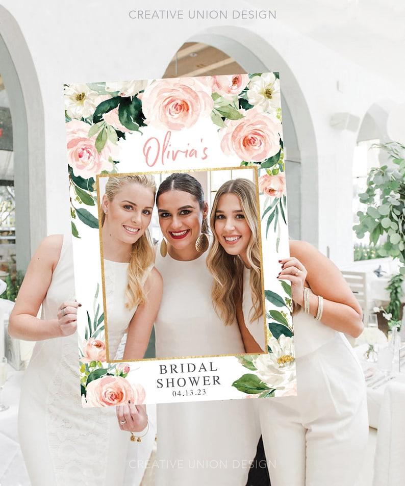 Photo Prop Frame Airy Blush Bridal Shower Photo Props PRINTED or DIGITAL Baby Shower Photo Prop Wedding Photo Prop 24x36