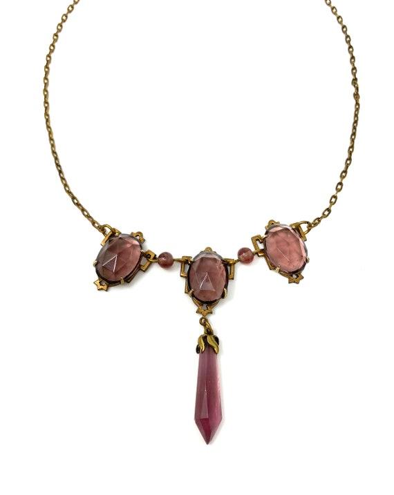 Vintage 1930s Brass & Purple Glass Drop Necklace - image 4