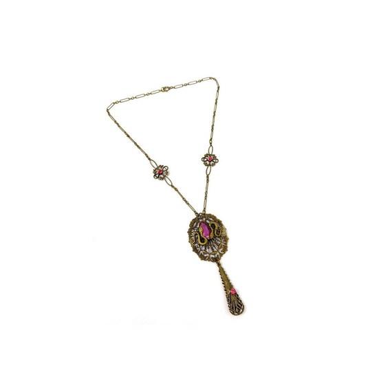 Vintage 1930s Brass Pink Glass Snake Design Neckl… - image 2