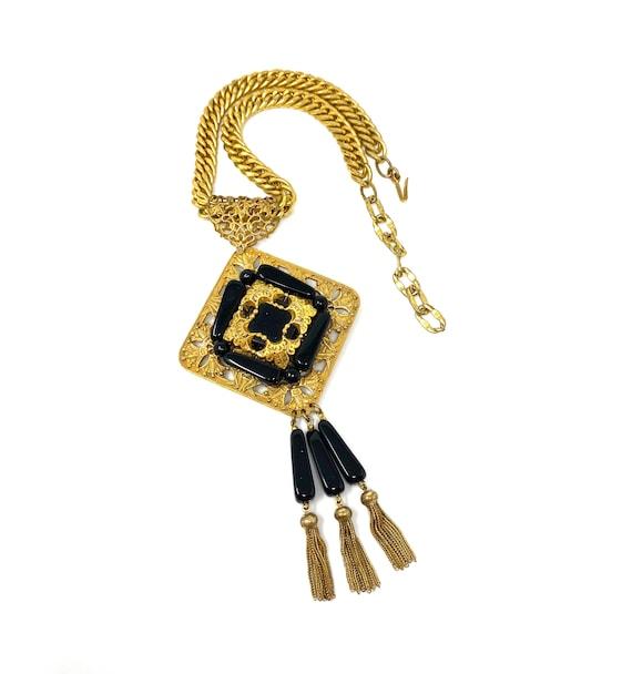Vintage Miriam Haskell Gold & Black Necklace