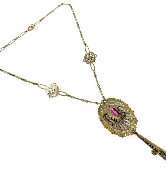 Vintage 1930s Brass Pink Glass Snake Design Neckl… - image 9