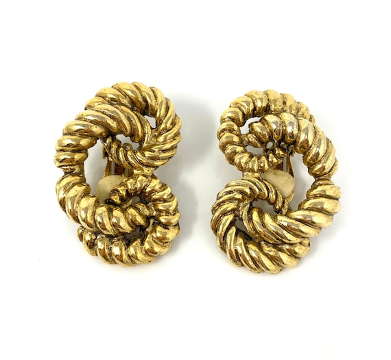 Vintage rope twist clip earrings quality designer style 80s weave design gold plated clip on earrings 1980s power dressing