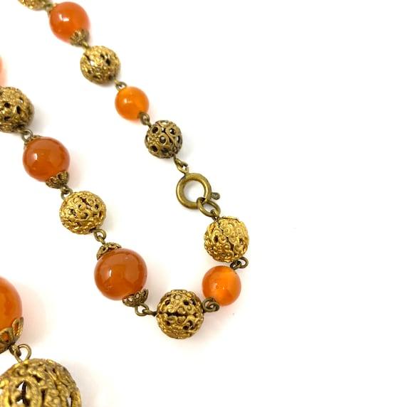Vintage 1930s Brass & Amber Glass Long Necklace - image 9