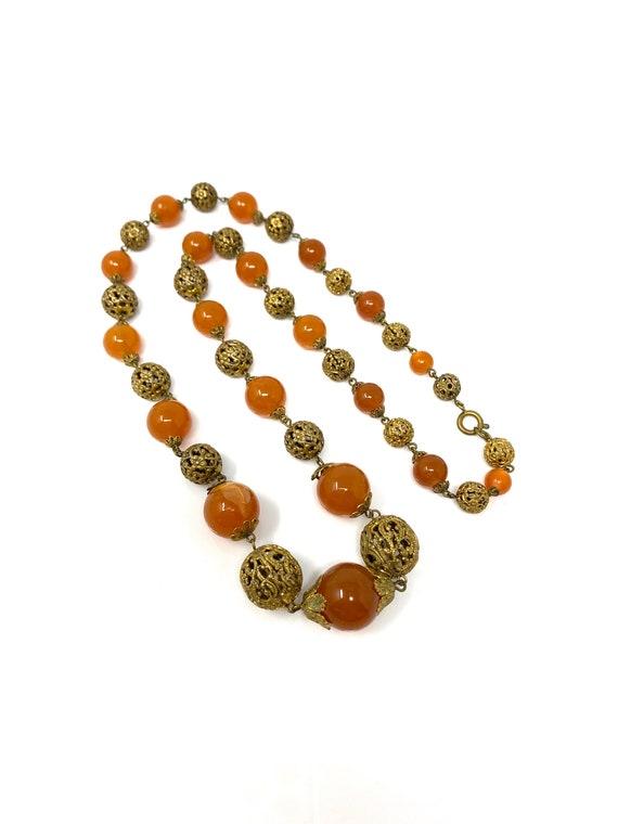 Vintage 1930s Brass & Amber Glass Long Necklace - image 4
