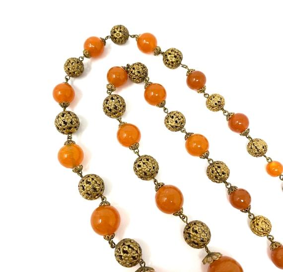 Vintage 1930s Brass & Amber Glass Long Necklace - image 7